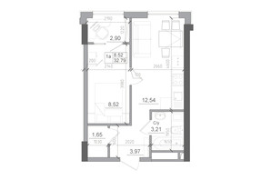 ЖК Artville: планировка 1-комнатной квартиры 32.79 м²