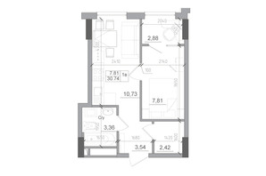 ЖК Artville: планировка 1-комнатной квартиры 30.74 м²