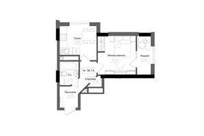 ЖК Artville: планировка 1-комнатной квартиры 34.13 м²