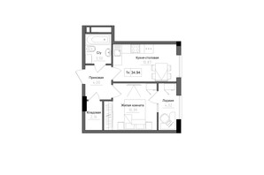 ЖК Artville: планировка 1-комнатной квартиры 34.94 м²
