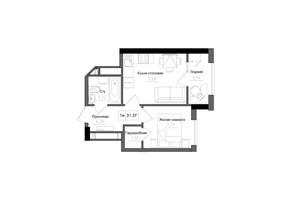 ЖК Artville: планировка 1-комнатной квартиры 31.37 м²