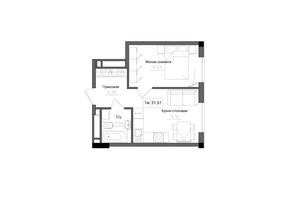 ЖК Artville: планировка 1-комнатной квартиры 31.51 м²