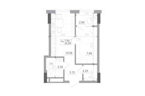 ЖК Artville: планировка 1-комнатной квартиры 30.68 м²