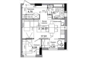 ЖК Artville: планировка 1-комнатной квартиры 38.04 м²