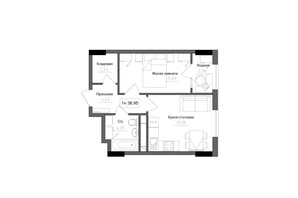 ЖК Artville: планировка 1-комнатной квартиры 36.95 м²