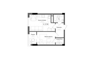 ЖК Artville: планировка 1-комнатной квартиры 37.58 м²