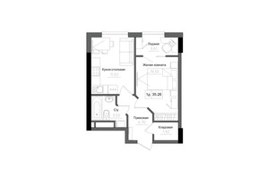 ЖК Artville: планировка 1-комнатной квартиры 35.26 м²