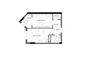 ЖК Artville: планировка 1-комнатной квартиры 39.03 м²