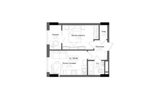 ЖК Artville: планировка 1-комнатной квартиры 36.8 м²