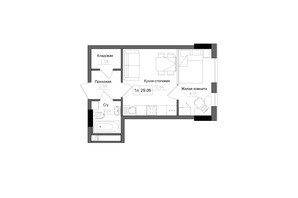 ЖК Artville: планировка 1-комнатной квартиры 29.06 м²