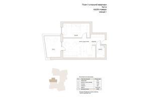 ЖК Artynov Hall: планування 1-кімнатної квартири 50.82 м²