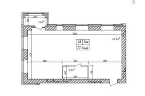 ЖК Аржанова: планировка 3-комнатной квартиры 77.4 м²