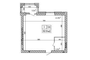 ЖК Аржанова: планировка 1-комнатной квартиры 52 м²