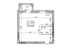 ЖК Аржанова: планировка 2-комнатной квартиры 51.4 м²