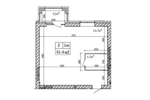 ЖК Аржанова: планировка 1-комнатной квартиры 51.4 м²
