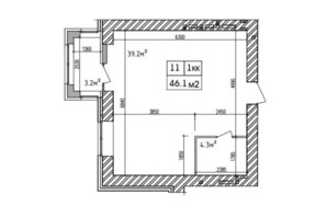 ЖК Аржанова: планировка 1-комнатной квартиры 46.11 м²