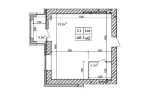 ЖК Аржанова: планировка 1-комнатной квартиры 46.6 м²