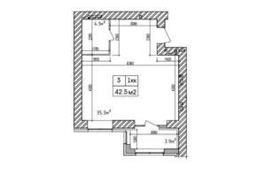 ЖК Аржанова: планування 1-кімнатної квартири 42.7 м²