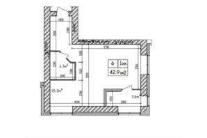 ЖК Аржанова: планування 1-кімнатної квартири 42.9 м²