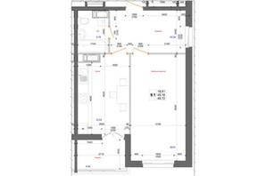ЖК Атлант: планировка 1-комнатной квартиры 49.72 м²