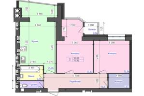 ЖК Атлант: планування 2-кімнатної квартири 73.7 м²