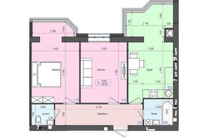 ЖК Атлант: планировка 2-комнатной квартиры 66.6 м²