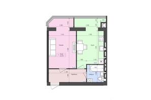 ЖК Атлант: планування 1-кімнатної квартири 42.7 м²