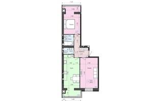 ЖК Атлант: планировка 2-комнатной квартиры 68.62 м²
