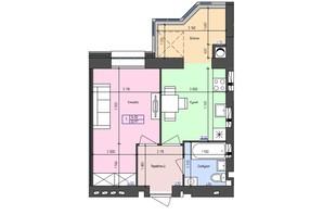 ЖК Атлант: планировка 1-комнатной квартиры 33.97 м²