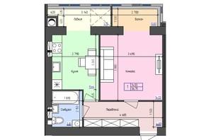 ЖК Атлант: планировка 1-комнатной квартиры 36.75 м²