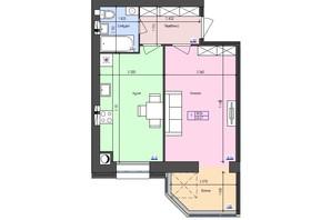 ЖК Атлант: планировка 1-комнатной квартиры 43.47 м²