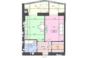 ЖК Атлант: планировка 1-комнатной квартиры 48.94 м²