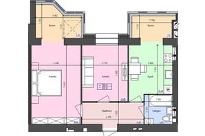 ЖК Атлант: планировка 2-комнатной квартиры 55.33 м²