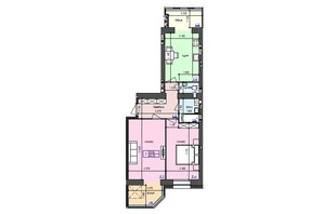 ЖК Атлант: планировка 2-комнатной квартиры 64.3 м²