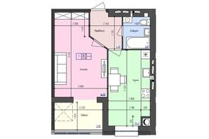 ЖК Атлант: планировка 1-комнатной квартиры 41.38 м²