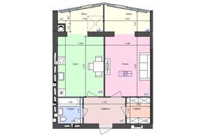 ЖК Атлант: планировка 2-комнатной квартиры 51.67 м²