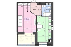 ЖК Атлант: планировка 2-комнатной квартиры 40.4 м²