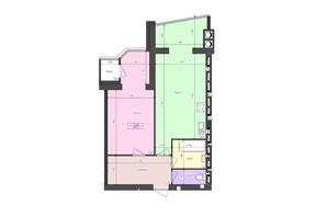 ЖК Атлант: планування 1-кімнатної квартири 58.5 м²