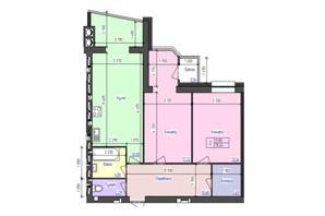 ЖК Атлант: планування 2-кімнатної квартири 78 м²