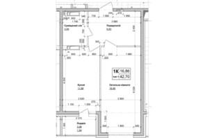ЖК Атлант на Киевской: планировка 1-комнатной квартиры 42.71 м²