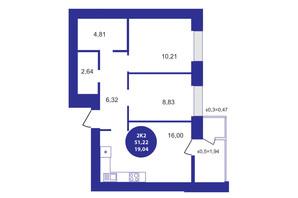 ЖК Атмосфера: планування 2-кімнатної квартири 51.22 м²