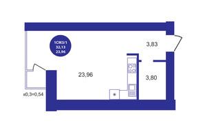 ЖК Атмосфера: планування 1-кімнатної квартири 32.13 м²