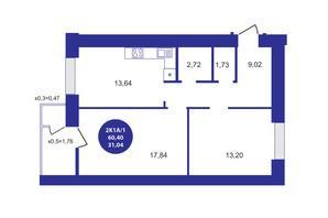 ЖК Атмосфера: планування 2-кімнатної квартири 60.4 м²