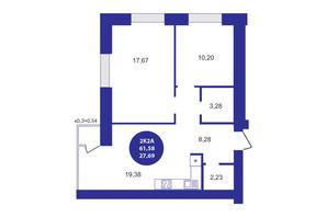 ЖК Атмосфера: планування 2-кімнатної квартири 61.58 м²