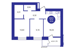ЖК Атмосфера: планування 2-кімнатної квартири 52.21 м²