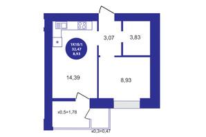 ЖК Атмосфера: планування 1-кімнатної квартири 32.47 м²