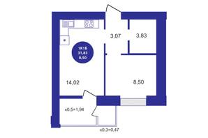 ЖК Атмосфера: планування 1-кімнатної квартири 31.83 м²