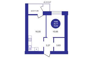 ЖК Атмосфера: планування 1-кімнатної квартири 36.17 м²
