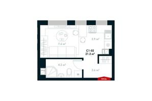 ЖК Atria City. Teremky: планування 1-кімнатної квартири 21.3 м²