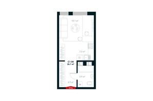 ЖК Atria City. Teremky: планування 1-кімнатної квартири 26.1 м²